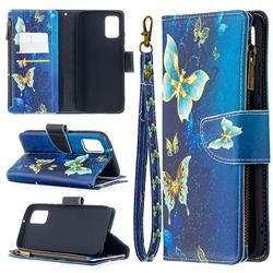 Golden Butterflies Binfen Color BF03 Retro Zipper Leather Wallet Phone Case for Samsung Galaxy A02s