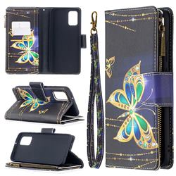 Golden Shining Butterfly Binfen Color BF03 Retro Zipper Leather Wallet Phone Case for Samsung Galaxy A02s