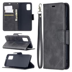 Classic Sheepskin PU Leather Phone Wallet Case for Samsung Galaxy A02s - Black