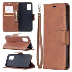 Classic Sheepskin PU Leather Phone Wallet Case for Samsung Galaxy A02s - Brown