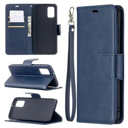 Classic Sheepskin PU Leather Phone Wallet Case for Samsung Galaxy A02s - Blue