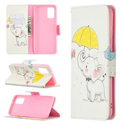 Umbrella Elephant Leather Wallet Case for Samsung Galaxy A02s