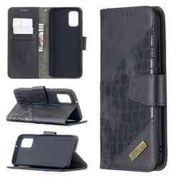BinfenColor BF04 Color Block Stitching Crocodile Leather Case Cover for Samsung Galaxy A02s - Black
