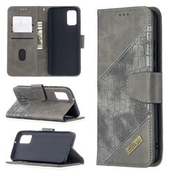 BinfenColor BF04 Color Block Stitching Crocodile Leather Case Cover for Samsung Galaxy A02s - Gray