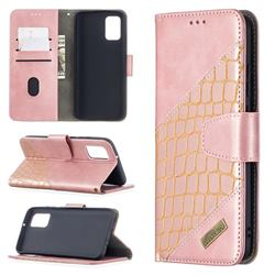 BinfenColor BF04 Color Block Stitching Crocodile Leather Case Cover for Samsung Galaxy A02s - Rose Gold