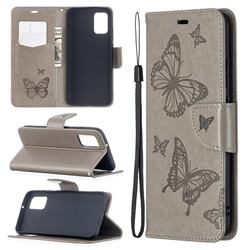 Embossing Double Butterfly Leather Wallet Case for Samsung Galaxy A02s - Gray