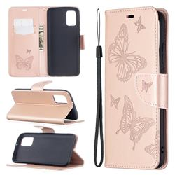 Embossing Double Butterfly Leather Wallet Case for Samsung Galaxy A02s - Rose Gold