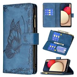 Binfen Color Imprint Vivid Butterfly Buckle Zipper Multi-function Leather Phone Wallet for Samsung Galaxy A02s - Blue