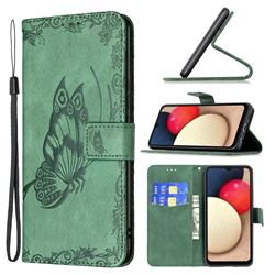 Binfen Color Imprint Vivid Butterfly Leather Wallet Case for Samsung Galaxy A02s - Green