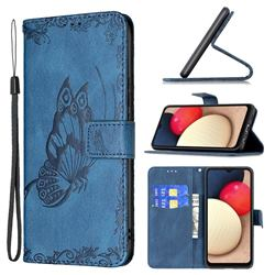 Binfen Color Imprint Vivid Butterfly Leather Wallet Case for Samsung Galaxy A02s - Blue