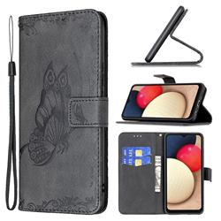 Binfen Color Imprint Vivid Butterfly Leather Wallet Case for Samsung Galaxy A02s - Black