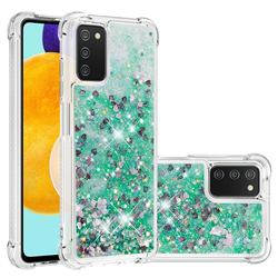Dynamic Liquid Glitter Sand Quicksand TPU Case for Samsung Galaxy A03s - Green Love Heart
