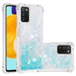 Dynamic Liquid Glitter Sand Quicksand TPU Case for Samsung Galaxy A03s - Silver Blue Star