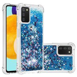 Dynamic Liquid Glitter Sand Quicksand TPU Case for Samsung Galaxy A03s - Blue Love Heart