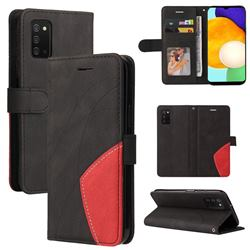 Luxury Two-color Stitching Leather Wallet Case Cover for Samsung Galaxy A03s - Black