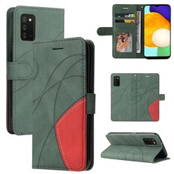 Luxury Two-color Stitching Leather Wallet Case Cover for Samsung Galaxy A03s - Green
