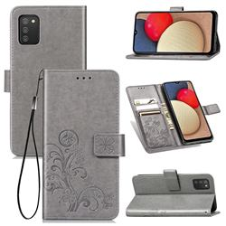 Embossing Imprint Four-Leaf Clover Leather Wallet Case for Samsung Galaxy A03s - Grey