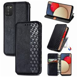 Ultra Slim Fashion Business Card Magnetic Automatic Suction Leather Flip Cover for Samsung Galaxy A03s - Black