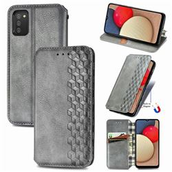Ultra Slim Fashion Business Card Magnetic Automatic Suction Leather Flip Cover for Samsung Galaxy A03s - Grey