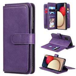 Multi-function Ten Card Slots and Photo Frame PU Leather Wallet Phone Case Cover for Samsung Galaxy A03s - Violet