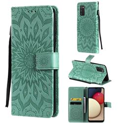 Embossing Sunflower Leather Wallet Case for Samsung Galaxy A03s - Green