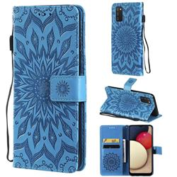 Embossing Sunflower Leather Wallet Case for Samsung Galaxy A03s - Blue