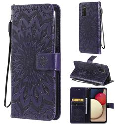 Embossing Sunflower Leather Wallet Case for Samsung Galaxy A03s - Purple