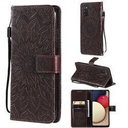 Embossing Sunflower Leather Wallet Case for Samsung Galaxy A03s - Brown