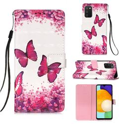 Rose Butterfly 3D Painted Leather Wallet Case for Samsung Galaxy A03s