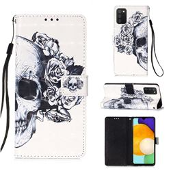 Skull Flower 3D Painted Leather Wallet Case for Samsung Galaxy A03s