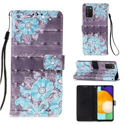 Blue Flower 3D Painted Leather Wallet Case for Samsung Galaxy A03s