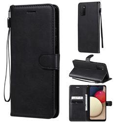 Retro Greek Classic Smooth PU Leather Wallet Phone Case for Samsung Galaxy A03s - Black