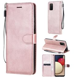 Retro Greek Classic Smooth PU Leather Wallet Phone Case for Samsung Galaxy A03s - Rose Gold