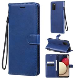 Retro Greek Classic Smooth PU Leather Wallet Phone Case for Samsung Galaxy A03s - Blue
