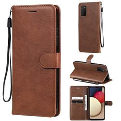Retro Greek Classic Smooth PU Leather Wallet Phone Case for Samsung Galaxy A03s - Brown
