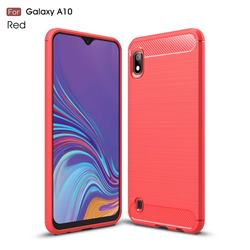 Luxury Carbon Fiber Brushed Wire Drawing Silicone TPU Back Cover for Samsung Galaxy A10 - Red