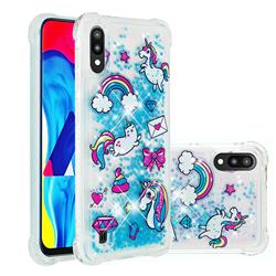 Fashion Unicorn Dynamic Liquid Glitter Sand Quicksand Star TPU Case for Samsung Galaxy A10