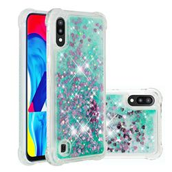 Dynamic Liquid Glitter Sand Quicksand TPU Case for Samsung Galaxy A10 - Green Love Heart
