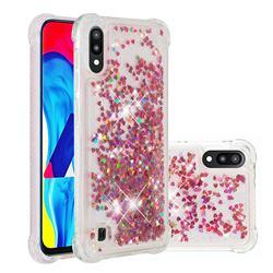 Dynamic Liquid Glitter Sand Quicksand TPU Case for Samsung Galaxy A10 - Rose Gold Love Heart