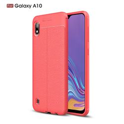 Luxury Auto Focus Litchi Texture Silicone TPU Back Cover for Samsung Galaxy A10 - Red