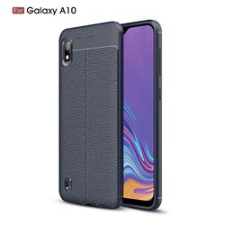 Luxury Auto Focus Litchi Texture Silicone TPU Back Cover for Samsung Galaxy A10 - Dark Blue