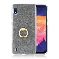 Luxury Soft TPU Glitter Back Ring Cover with 360 Rotate Finger Holder Buckle for Samsung Galaxy A10 - Black