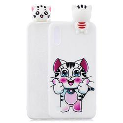 Cute Pink Kitten Soft 3D Climbing Doll Soft Case for Samsung Galaxy A10