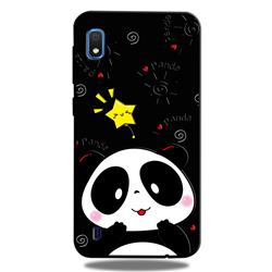 Cute Bear 3D Embossed Relief Black TPU Cell Phone Back Cover for Samsung Galaxy A10