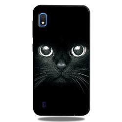 Bearded Feline 3D Embossed Relief Black TPU Cell Phone Back Cover for Samsung Galaxy A10
