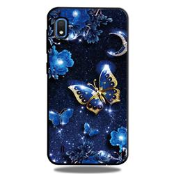 Phnom Penh Butterfly 3D Embossed Relief Black TPU Cell Phone Back Cover for Samsung Galaxy A10