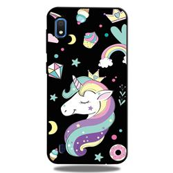 Candy Unicorn 3D Embossed Relief Black TPU Cell Phone Back Cover for Samsung Galaxy A10