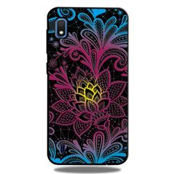 Colorful Lace 3D Embossed Relief Black TPU Cell Phone Back Cover for Samsung Galaxy A10