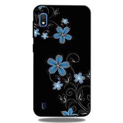 Little Blue Flowers 3D Embossed Relief Black TPU Cell Phone Back Cover for Samsung Galaxy A10