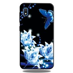 Blue Butterfly 3D Embossed Relief Black TPU Cell Phone Back Cover for Samsung Galaxy A10